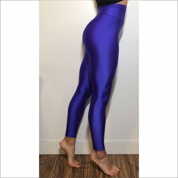 EUC Super High Waisted Shiny Purple Leggings Small